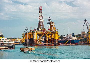 油平台, 在, 修理