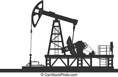 油泵, 黑色半面畫像, 被隔离, 在懷特上, 背景。