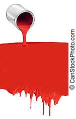 油漆 罐頭, 傾瀉, 滴下, 紅色, 在懷特上
