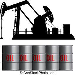 油田, 以及, 桶