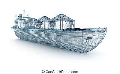 油船, 船, 電線, 模型, 被隔离, 上, white., 我, 自己, 設計