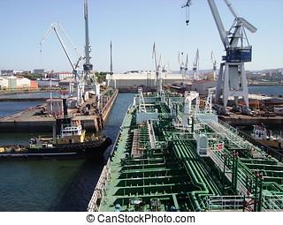 油輪, 進入, 乾燥的船塢
