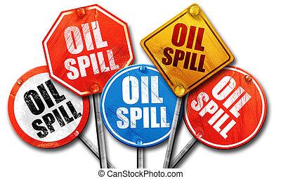 油類滲漏, 3d, rendering, 街簽名