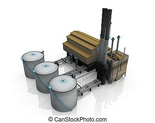 油, 工廠