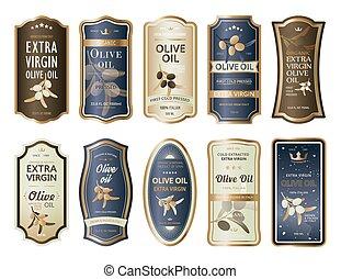 油, 瓶子, 標籤, 黏性, 橄欖, 屠夫, 或者