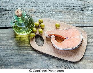 油, 食物, 三文魚, -, 脂肪, 橄欖, 不飽和