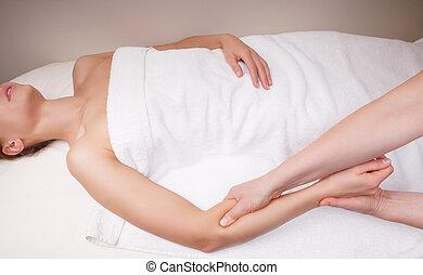 治療上, 筋肉, 組織, 前腕, 海原, セラピスト, 女性, マッサージ