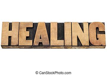 治癒, 単語, 中に, 木, タイプ