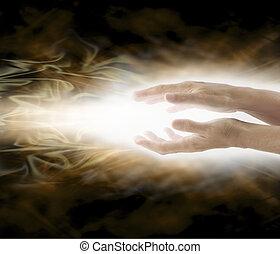 治癒, reiki, エネルギー, 光を発する