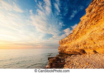 沿岸である, 崖, ∥において∥, 日没