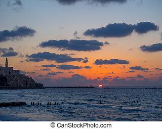 沿岸である, aviv, sky., -, 雲, 光景, 1 月, israel., yafo, 都市, ∥あるいは...