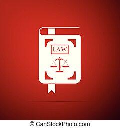 法令, アイコン, 平ら, 正義, スケール, 隔離された, イラスト, バックグラウンド。, ベクトル, 法律書, 赤, design.
