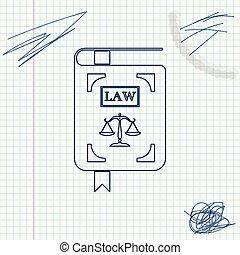 法令, スケッチ, スケール, 正義, 白, 隔離された, イラスト, バックグラウンド。, ベクトル, 線, 法律書, アイコン