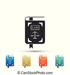 法令, セット, 有色人種, アイコン, スケール, 正義, 隔離された, icons., バックグラウンド。, ベクトル, 平ら, イラスト, 白, 法律書, 要素, design.