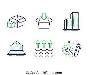 法廷, パッキング, 工学, signs., ベクトル, 超高層ビル, set., 箱, アイコン, 蒸発, 箱, 建物, 得なさい, 建物