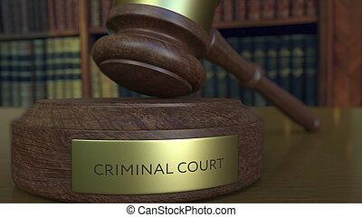法廷, ヒッティング, レンダリング, 小槌, 裁判官, 犯罪者, inscription., ブロック, 3d