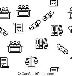 法廷, プロセス, パターン, 判断, seamless, ベクトル