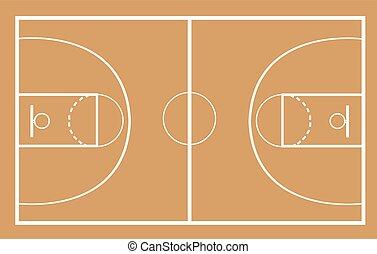法廷, ベクトル, イラスト, バスケットボール