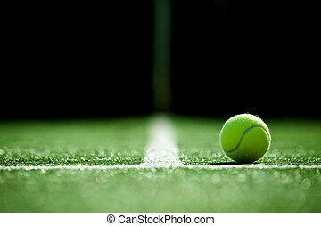 法廷, 草, ボール, テニス, 柔らかい 焦点