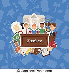 法廷, 裁判所, 人々, 正義, 司法, 特徴, 法的, ベクトル, イラスト, 背景, 刑務所, 裁判官, 犯罪者, 判断, 背景