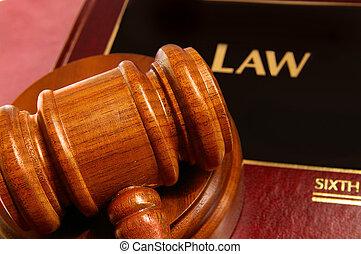 法律書, そして, 裁判官, 小槌, クローズアップ, 上 から