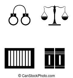 法律, セット, アイコン