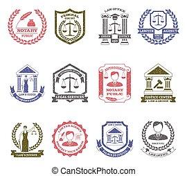 法律, ロゴ, セット, 順序, スタンプ