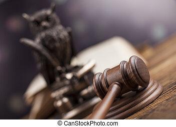 法律, 主題, 木槌, の, 裁判官, 木製の年金