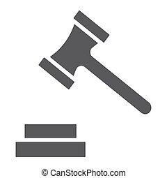 法律, 固体, バックグラウンド。, 正義, パターン, 印, オークション, ベクトル, グラフィックス, アイコン, 白, ハンマー, glyph