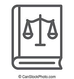 法律, 天秤座, 線である, バックグラウンド。, 印, パターン, 白, 正義, ベクトル, グラフィックス, アイコン, 線, 法律書
