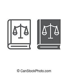 法律, 天秤座, 線である, 正義, パターン, 白, 印, バックグラウンド。, ベクトル, グラフィックス, アイコン, 線, 法律書, glyph