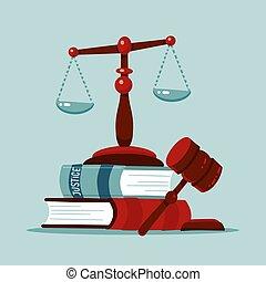 法律, 平ら, クラシック, スケール, 裁判官, laws., illustration., オークション, 印, シンボル。, 小槌, libra., 法廷, 法的, ハンマー, 本, 正義, ベクトル, concept., 木製である