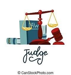 法律, 平ら, スケール, 裁判官, 白, オークション, 印, 漫画, シンボル。, レタリング, books., 背景, gavel., 法的, 概念, ハンマー, 隔離された, 正義, イラスト, style., ベクトル, 木製である