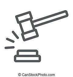 法律, 裁判官, 線である, バックグラウンド。, オークション, パターン, 印, アイコン, ハンマー, ベクトル, グラフィックス, 線, 判断, 白