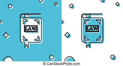 法律, 隔離された, concept., 裁判官, アイコン, shapes., 青, イラスト, ベクトル, 任意である, バックグラウンド。, 白, book., 判断, 動的, 黒, 本, 法的