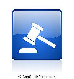 法律, 青い正方形, 網, グロッシー, アイコン
