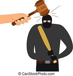 法律, character., 法的, 犯罪者, ハンマー, 罰