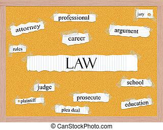 法律, corkboard, 詞, 概念