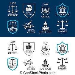 法的, オフィスアイコン, 中心, 法律, 正義