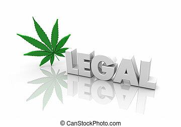法的, マリファナ, レクリエーションである, 使用, 単語, イラスト, 薬効がある, 3d