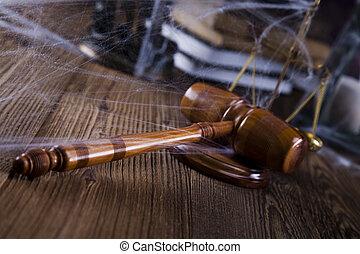 法的, 小槌, 上に, a, 法律書