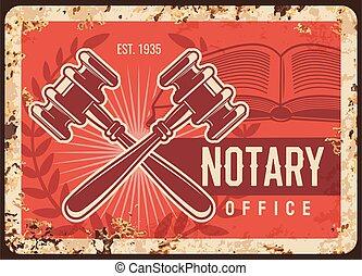 法的, 弁護士, 金属, 錆ついた, プレート, notary, オフィス, 会社