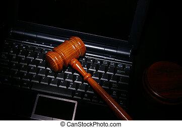 法的, 法廷, 小槌, 上に, a, ラップトップ・コンピュータ