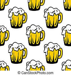 泡だらけ, パターン, seamless, ビール, 背景, パイント