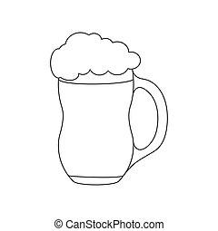 泡だらけ, ビール, アウトライン, 大袈裟な表情をしなさい, drink., 隔離された, 白, 泡, 大袈裟な表情をしなさい, 空, 背景