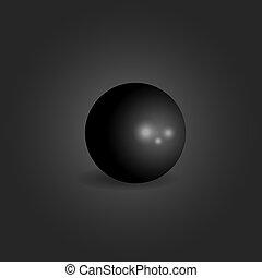 泡, オブジェクト, 黒い背景, 要素, ボール, 3d, 暗い, 幾何学的, 単一, 形, 現実的, 写実的な 設計, 概念
