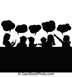 泡, スピーチ, シルエット, 子供, イラスト
