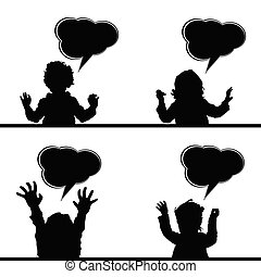 泡, スピーチ, 子供, イラスト