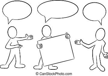 泡, スピーチ, 提出すること, 漫画, 人々