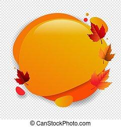 泡, スピーチ, 葉, 透明, 背景, 秋